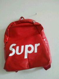 red Supreme leather backpack