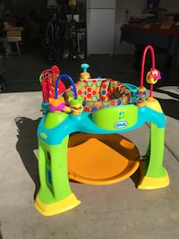 Baby's blue, green, and yellow activity saucer 2219 mi