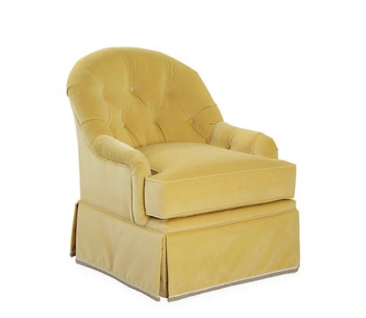 Yellow Velvet Swivel Chair