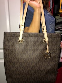 Brown and beige leather Michael Kors purse