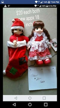 two girl wearing red and white dress dolls Perrysburg, 43551