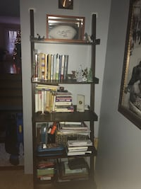 Dark brown leaning wooden bookshelf Oak Lawn
