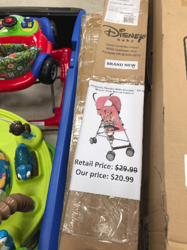 New! Disney Umbrella Stroller with Canopy, Minnie Mouse, Pink