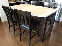 4 high top chairs - wood/leather Arlington, 22201