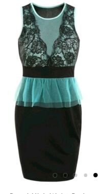 black and teal floral sleeveless dress Brampton, L6S