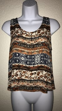 Small Women's brown and white floral tank top