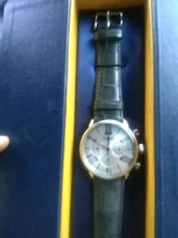 round silver-colored chronograph watch with black leather strap 2273 mi