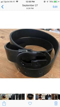 black leather belt with silver buckle Westminster