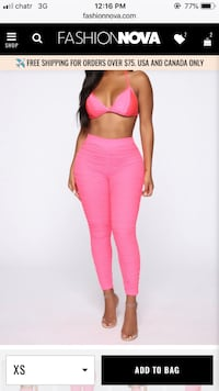 Size XS Neon pink ruched leggings from Fashionnova Toronto, M3M 3G3