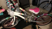 White and pink girls  bike. 20 inch