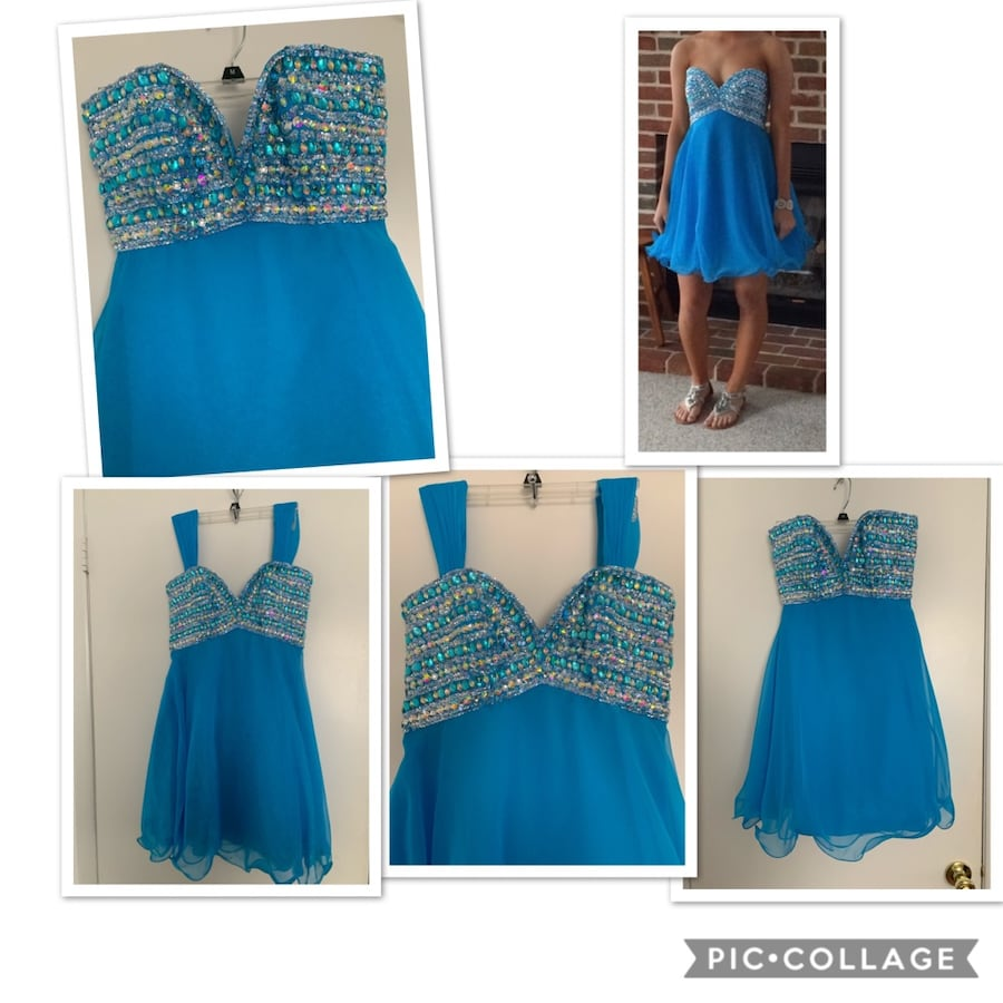 Blue beaded mini prom dress