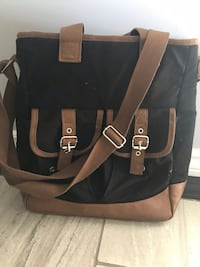 black and brown leather 2-way bag Valley Stream, 11580