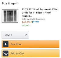 "Brand New Steel Return Air Filter Grill for 1"" filter Dumfries, 22025"