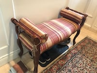 STRIPED FABRIC SOLID WOOD ANTIQUE BENCH Côte-Saint-Luc