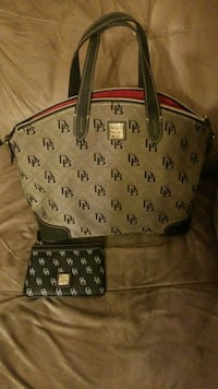 Black monogrammed Dooney & Bourke leather tote bag