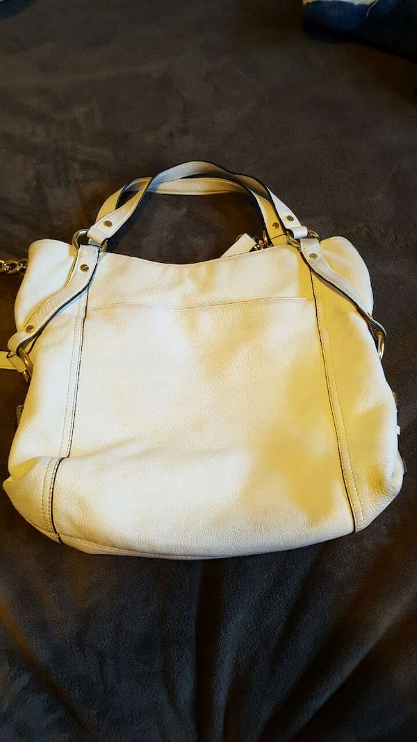 white leather tote bag