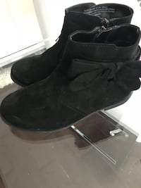 black suede side-zip booties with bow accent Toronto, M6J 1Y1