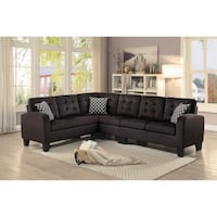 Sinclair Chocolate Sectional with Pillows. Houston