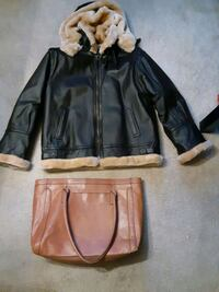 Leather coat and bag