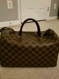 damier ebene Louis Vuitton leather handbag