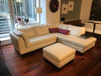 White leather couch and ottoman New York, 10026