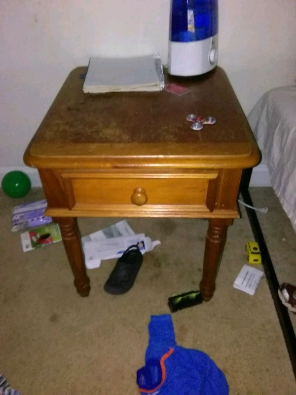 brown wooden 2-drawer end table