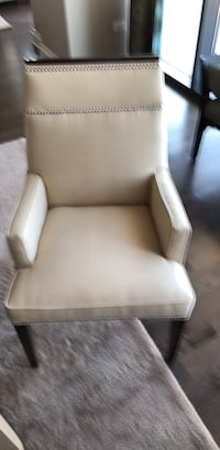 brown wooden framed white padded armchair Chicago, 60601