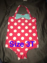 toddler's white and pink polka-dot swim wear