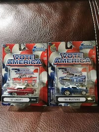 pair of vote america mustang 66 and chevy 57 car toys Scottsboro, 35769