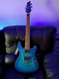 Blue Ibanez and micro korg amp Grovetown, 30813