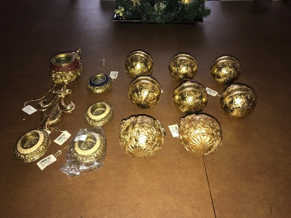 Gold Home Decor Lot Holiday Ornaments From Neiman Marcus