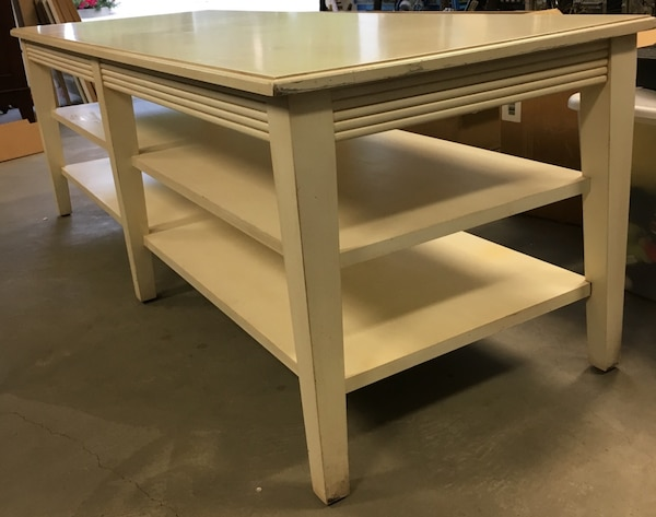 Ethan Allen Swedish Home Long Coffee Table Book Shelf Tv Stand Media Unit