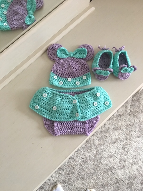 Used Crochet Minnie Mouse Diaper Cover Ensemble For Sale In