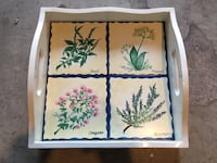 """13"""" x 13"""" tray with handles, and 4 """"herb"""" ceramic tiles.  Great condition just needs cleaning. San Marcos, 92069"""