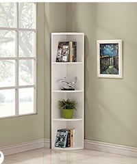 white wooden 5-layer shelf