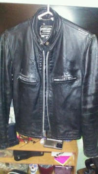 black leather zip-up jacket Duncan
