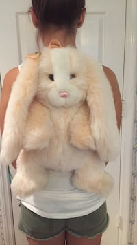 White and pale pink rabbit backpack
