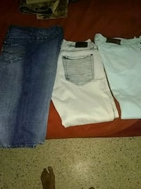 three blue, white, and gray denim jeans Lehigh Acres, 33936