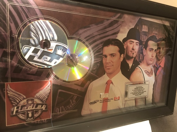 Hadley platinum award issued by the Canadian recording industry to Darren Gilmore. Best offer pick up only gas town