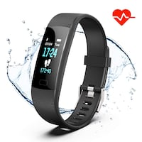 Fitness Tracker Heart Rate Monitor Watch Activity Tracker with Color Screen IP68 Waterproof Smart Watch Sleep Monitor 14 Sports Mode Pedometer Watch for Kids Women and Men (Black) 220 mi