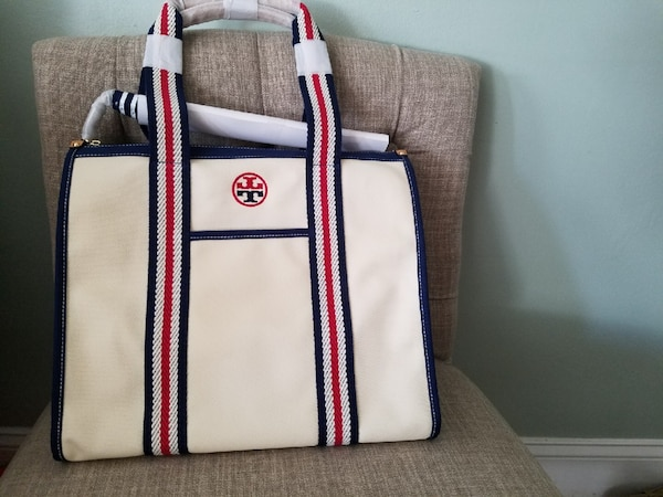 fd7ccdb0bf3 Used Tory Burch embroidered t tote Natural 254 style code  35910 for ...