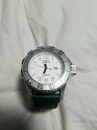 round silver-colored analog watch with black leath Middletown, 10940