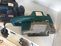 blue and gray finishing sander