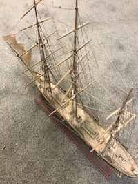"Old wooden ship model, hand built. Beautiful model about 2 feet long from early 80's it is 16 1/2"" tall from bottom of base to top or mast and about 26"" long Ronkonkoma, 11779"
