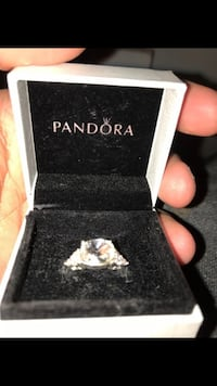 Silver and diamond pandora ring in box