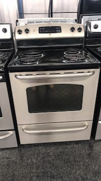 white and black 4-burner gas range oven Toronto, M3J