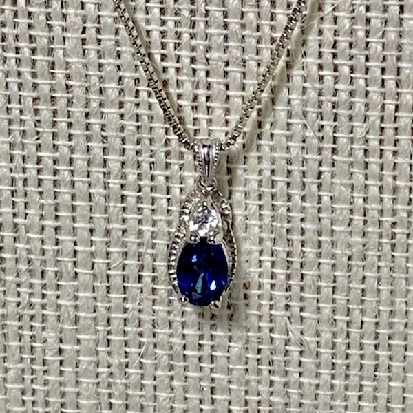 Vintage Sterling Silver & Sapphire Pendant with Sterling  Box Chain 5f3dd583-1d13-4695-a828-9b40acfd5d8e