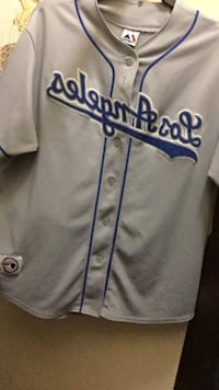 gray and blue Los Angeles Dodgers baseball jersey Los Angeles, 90023