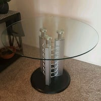 stainless steel base round glass top table Temecula, 92591