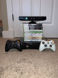 Black Xbox 360 with games and kinect
